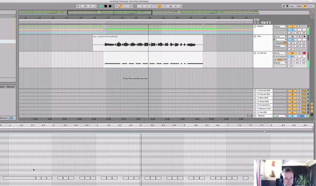 Record the melody rhythm on one note