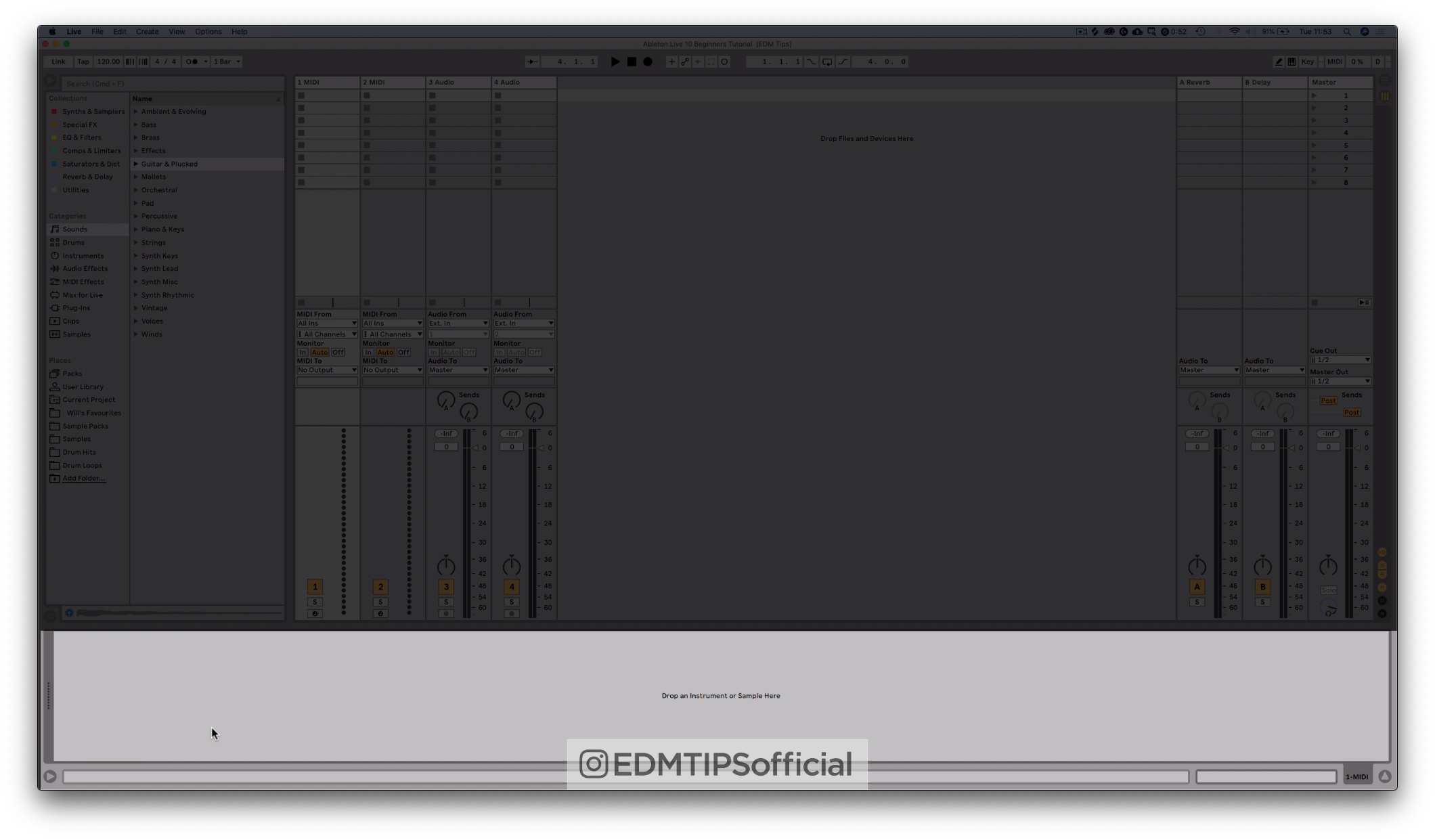 Ableton Live 10 Instrument and Effects Bar